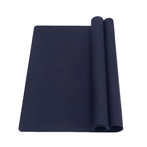 Silicone Heat Resistant Mats Set of 2, Extra Large Non Slip Multipurpose Kitchen Counter Table Mat, Countertop Protector, Black