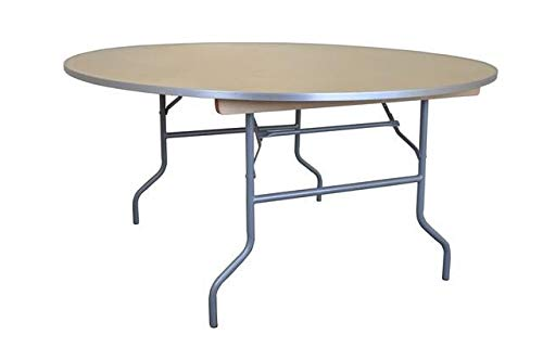 5' Foot Diameter Round Solid Birch Wood Folding Table - Heavy Duty 60' Top x 30' Height with Aluminum Edges (6-Pack)