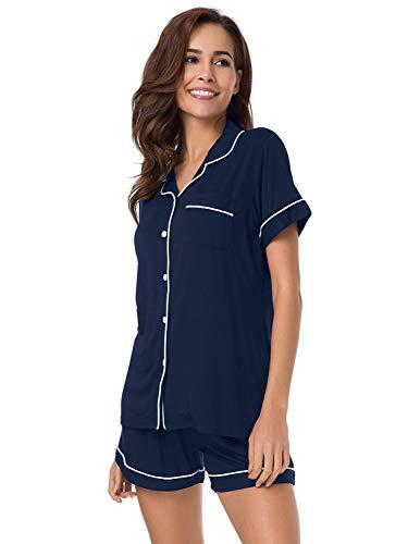 SIORO Ladies Pajamas,Short Sleeve Women's Pajamas,Super Soft Pj Sets for Women Sleepwear Loungewear S-XL