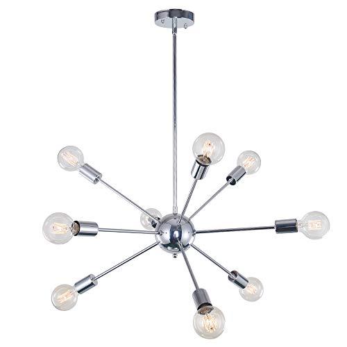Lingkai Sputnik Lampadario per Soggiorno Moderno Lusso Lampada a sospensione industriali Lampade da soffitto in nero metallo con 9 Luci Base E27 Cromo [Classe di efficienza energetica A++]