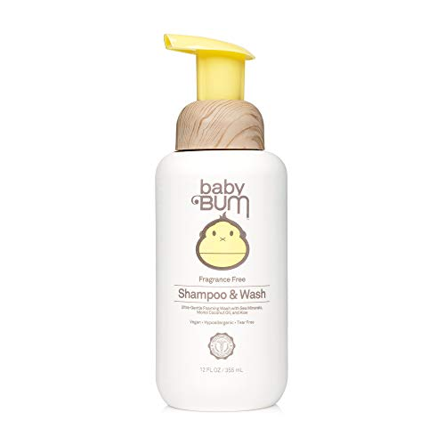 Baby Bum Shampoo & Wash   Tear Free Foaming Soap for Sensitive Skin with Nourishing Coconut Oil   Fragrance Free   Gluten Free and Vegan   12 FL OZ