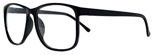 Klassische Nerdbrille Atzenbrille Nerd Retro Brille ohne Stärke - Schwarzer Kunststoff Rahmen durchsichtige klare Brillengläser für Damen und Herren - Stylisch Cool Angesagt
