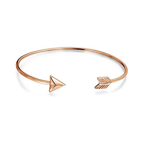 Bling Jewelry Minimalistische Liebe Pfeil Tipps Armreif Armband Für Freundin Für Frauen Für Teen Rose Gold Vergoldet 925 Sterling Silber