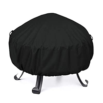 Umi. Essentials Small Fire Pit Cover, Heavy Duty Waterproof Round Fire Bowl Cover, Fade Resistant Outdoor Ottoman Cover with Adjustable Drawstring, 81cm Diameter, Black from Sewell