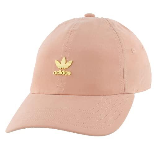 adidas Originals Gorra de Mujer con Logotipo de Metal y Ajuste Relajado, Mujer, Gorro/Sombrero, 977150, Rosa Polvo/Oro, Talla única