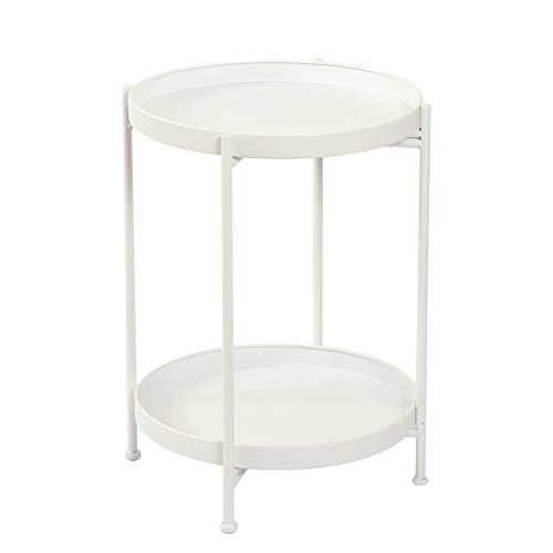 YNN Table d'appoint Ronde de Sofa de Fer forgé de Table Basse, très appropriée à la Chambre 36.5 * 51CM de Balcon de Salon (Couleur : Blanc)