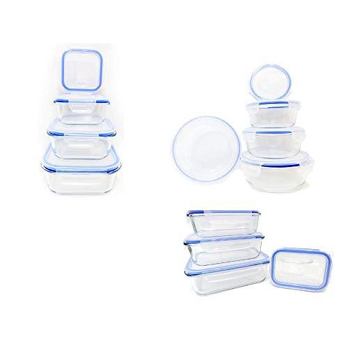 FIDON Recipiente vidrio 12 piezas (6 envases + 6 tapas) redondo 650cc hermeticos Fiambrera de vidrio Taper cristal redondo, cuadrado, rectagular, tamaños variados (Redondo 650cc) 15cm X 7cm