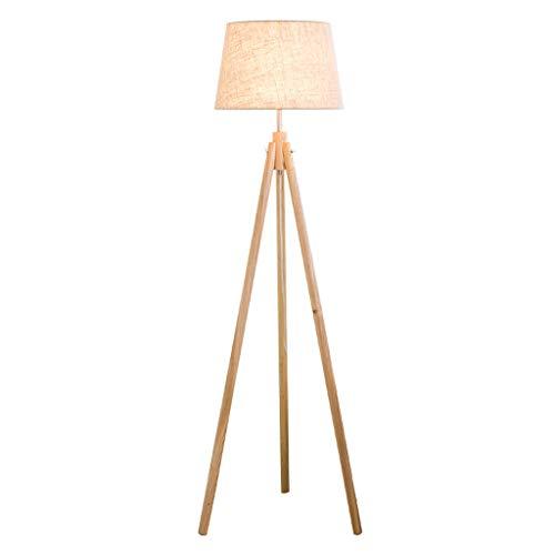 lampadaire Lampadaire, Lampadaire LED Vertical, Lampadaire En Bois Massif, Télécommande Intelligente, Abat-jour En Chanvre, Salon Canapé