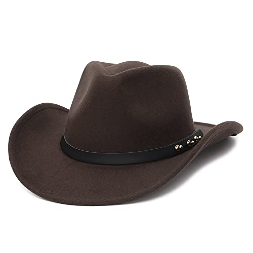 GEMVIE Cowboy Hat for Men Womens Classic Crushable Roll Up Brim Cowboy Hat Belt Buckle Western Cowboy Cowgirl Hat
