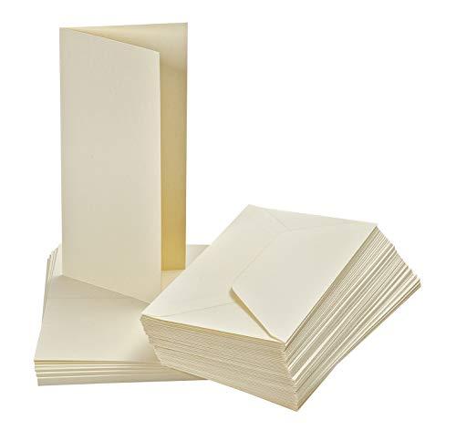 50 Doppelkarten mit 50 Umschlägen DIN Lang 21x10 cm Briefe Elfenbein