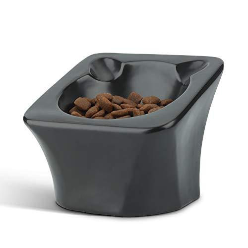 ComSaf Keramik Futternapf Katze, 15 ° Gekippte Katzennapf, Futter und Trinknapf für Hunde und Katzen, rutschfest Wasser Fütterung Schüssel Fressnapf Schwarz
