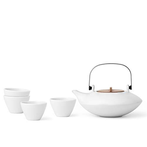 Tea Service 5 pezzi set porcellana: bianco, tra cui 1x teiera & 4 tazze da tè, gocciolamento-free, design moderno