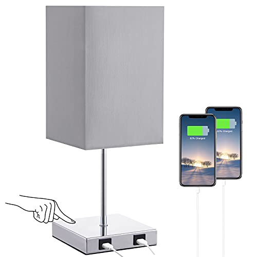 Aooshine Touch Table Lamp with Dual USB Ports for Bedrooms, Dimmable USB Bedside Lamp with Grey Fabric Lampshade and Stable Metal Base, Stylish Small Lamps for Lounge, Living Room(Bulb Included)