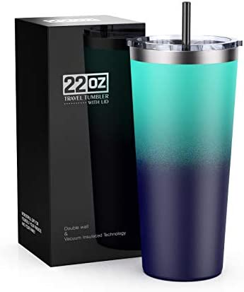 22oz Stainless Steel Tumbler Vacuum Insulated Travel Mug with Splash Proof Lid by Bastwe Double product image