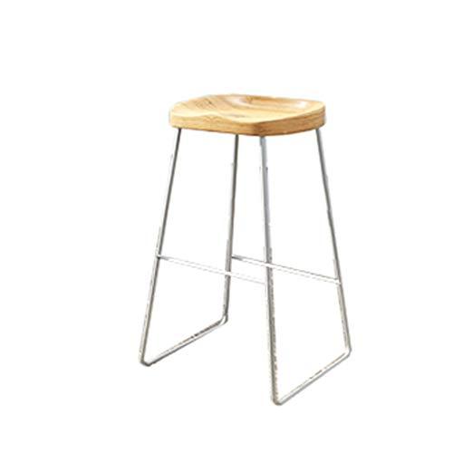 Hoher Stuhl GCX- Barhocker Massivholz Barhocker Schmiedeeisen Barhocker Hochhocker Eisen-Draht-Lounge Chair Barhocker Dining Chair Langlebig (Color : White, Size : 75cm)