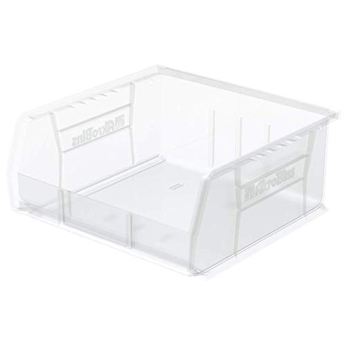 Plastic Storage Bin Hanging Stacking Containers, (11-Inch x 11-Inch x 5-Inch), Clear, (6-Pack) - 1