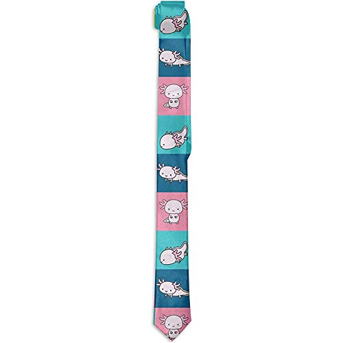 Mathillda heren jongens tegels stijlvolle elegante stropdas tegels Axolotls set kleurrijke geruit slanke stropdas -S5M-NP