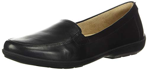NATURAL SOUL Women's Kacy Loafer, Black Leather, 8.5 M US