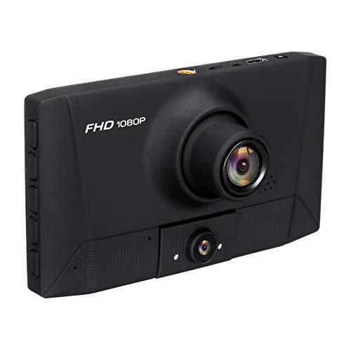 Grabadora de conducción 1080p 3 Lentes Auto Bucle Grabación Estacionamiento Monitoreo Vista Trasera Espejo Cámara DVR Cámara Recordo de conducción de Coche DVR (Color : Black, Size : OneSize)