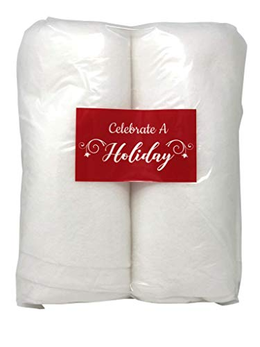 Celebrate A Holiday Christmas Snow Roll - 2 Packages of 3 Foot X 8 Foot Artificial Snow Blankets for Christmas Decorations