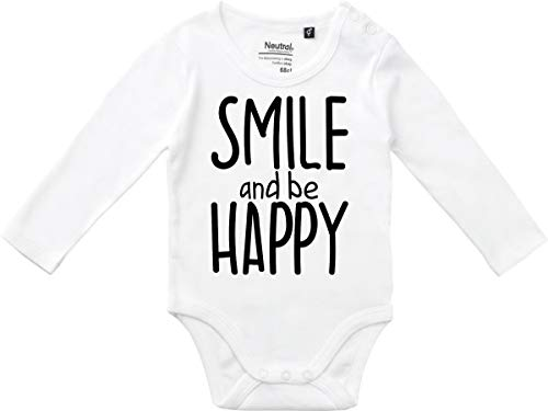 Kleckerliese Body à Manches Longues pour bébé Fille Motif Smile and be Happy - Blanc - 3 Mois