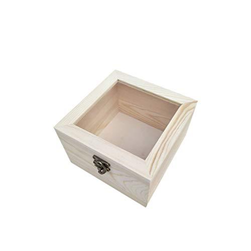 Amosfun caja de exhibición superior de cristal de madera para caja de regalo de vitrina de joyería de madera eterna (amarillo claro 15 x 15 x 10 cm)