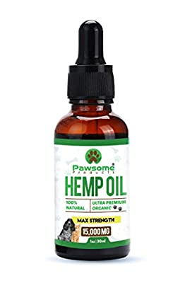 Pawsome Products® Hemp Oil for Dogs, Cats & Pets | High Strength 15,000mg / 30ml | Rich in Omega 3 & 6 | Organic | Made & Certified in UK