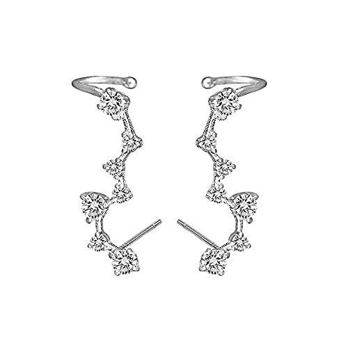 Donna Climber Orecchini in Argento Sterling 925 con 7 Cristallo Ear Cuff Crawler Ipoallergenico Orecchini