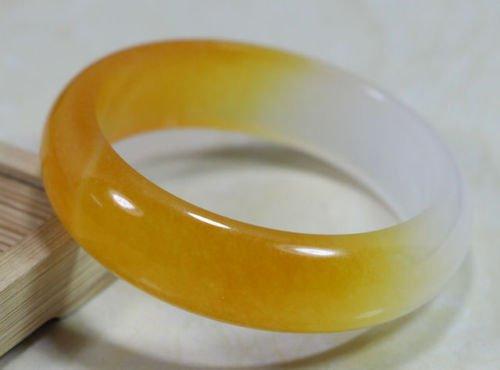 chenliangbj2011 Schöne Chinesische Natur Gelb Weiß Jade Jadeit Armreif Armband