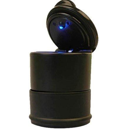 Urgrace Portable de voiture LED Bleu sans fumée Cendrier Portable de voiture camion Auto Bureau Cigarette Cendrier support Tasse – [Noir]