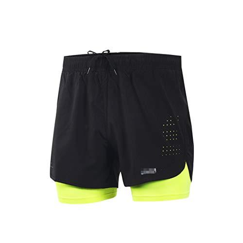Hombres 2 en 1 Correr Pantalones cortos para hombre de secado rápido Entrenamiento Ejercicio Jogging Ciclismo Pantalones cortos con más largo forro verde XL