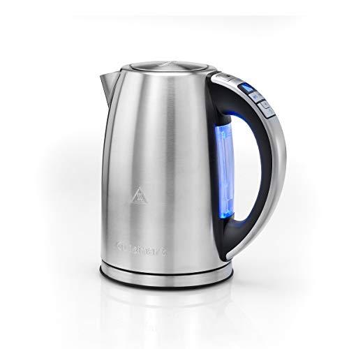 CUISINART CPK17E Hervidor de agua eléctrico con control de temperatura de 85°C hasta 100°C, rápida ebullición, pantalla digital, 3000 W, 1.7 litros, Acero Inoxidable