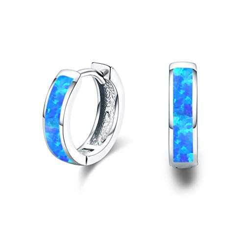 Small Hoop Earrings, Hinged Huggie Earrings Simulated Opal Blue Earrings Hypoallergenic Earrings for Sensitive Ears 925 Sterling Silver Earrings for Women Men Teen (Blue)
