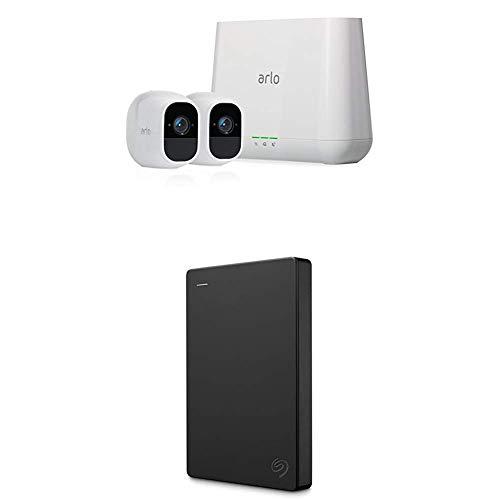 Arlo Pro2 Smart Home 2 HD-Überwachungskameras und Sicherheitssystem (Funktioniert mit Alexa) weiß + Seagate Expansion Amazon Special Edition 2 TB externe tragbare Festplatte (6,35 cm (2,5 Zoll))