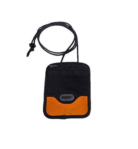 Portadocumenti da collo, GOX Premium 420D Nylon Multi-funzione Impermeabile Portatile Collo Stash Raccoglitore del Sacchetto di Viaggio - Protegge i Vostri Soldi, Carte di Credito e Documenti (Short, Arancione)