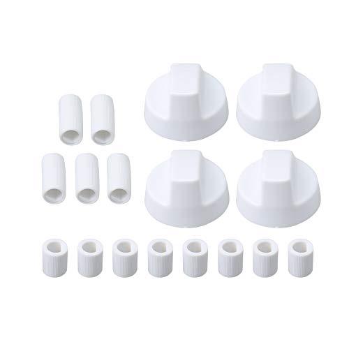 Lot de 4 boutons de commande universels pour cuisinière avec 12 adaptateurs Blanc