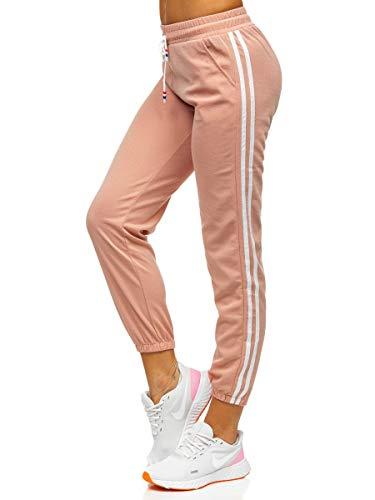 BOLF Damen Jogginghose Sporthose Trainingshose Fitnesshose Yogahose Sweathose Streifen Workout Freizeit High Elastic Pants J.Style YW01020D Rosa(Hell) M [F6F]