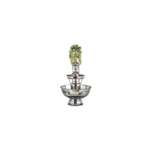 Buffet Enhancements Deluxe Stainless Steel Champagne Fountain - Gold Trim, 21 x 21 x 39 inch -- 1 each.