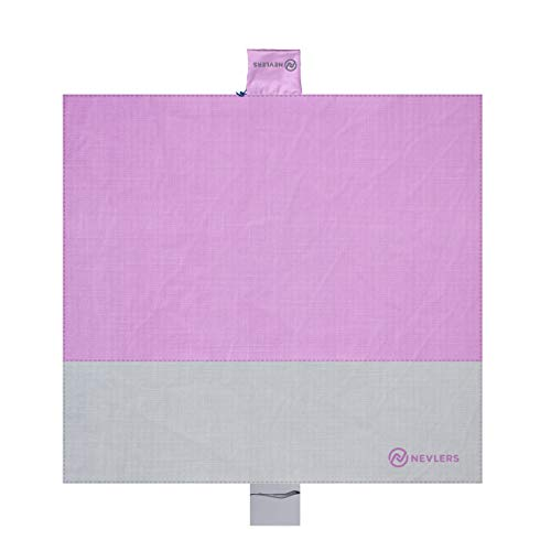 Nevlers Sand Free Beach Blanket - Large Design 79' x 83' - Holds 4-6 People - Lavender and Gray - Bonus Frisbee Included - Great as a Waterproof Blanket, Picnic Blanket, and for Camping Supplies!