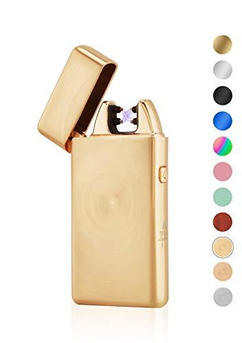 TESLA Lighter TESLA Lighter T05 Lichtbogen Feuerzeug, Plasma Single-Arc, elektronisch wiederaufladbar, aufladbar mit Strom per USB, ohne Gas und Benzin, mit Ladekabel, in edler Geschenkverpackung Gold gebürstet Gold-gebürstet