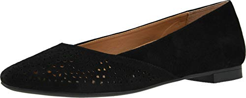 Vionic Women's Gem Carmela Perforated Detail Pointed Toe Flats - Ladies Flat Shoes with Concealed Orthotic Arch Support Black 7.5 Medium US