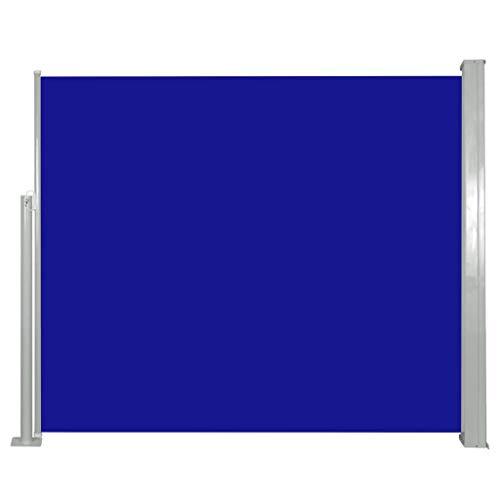 vidaXL Auvent Latéral Rétractable 120x300 cm Bleu Brise-Vue Store Abri Balcon