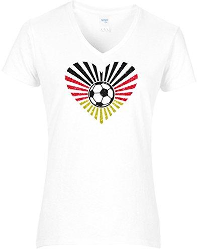 Elegantes Damen WM Shirt Fussball Deutschland Herz mit Strahlen und Fussball Germany 2018, T-Shirt, Grösse L, Weiss