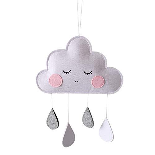 Ruipunuosi Cloud Raindrop Hanging Pendants Felt Raindrop Cloud Decoration Ceiling Garland Decoration for Baby Kids Children Bedroom