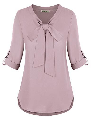 Moyabo Business Professional Attire Women Stylish Long Sleeve V Neck Chiffon Blouse Tunic Shirts Dusty Pink X-Large