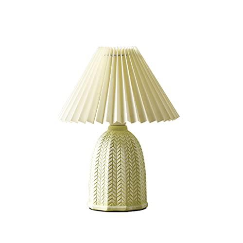 kerryshop lámparas Lámpara de Mesa de cerámica Plisada Retro lámpara de Noche de la Cama de la Cama de la Noche de la niña Homestay Cafe Cafe Decoration Lamp E14 Lámpara de Mesa