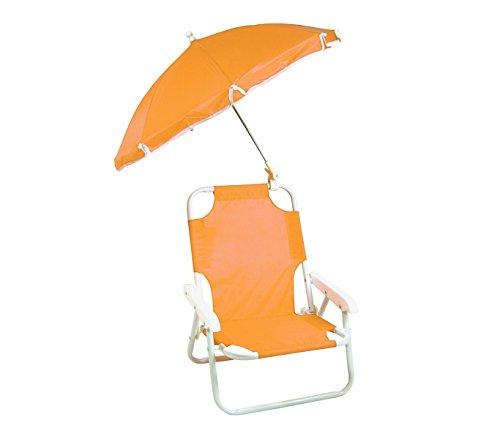 mws 2576 Sedia Pieghevole per Bambini di Colore Arancione con ombrellino Protezione Raggi UV