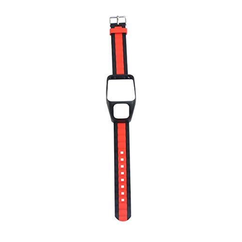 ibasenice Pulseira de relógio elegante pulseira de substituição de pulseira de relógio acessórios compatíveis para TOMTOM Runner 3 (preto e vermelho)