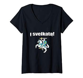 Womens Cheers Lithuanian Gift Lietuvos Herbas Souvenir I Sveikata V-Neck T-Shirt