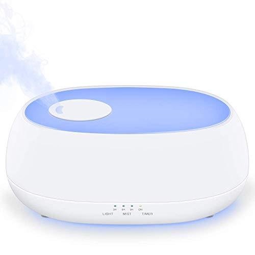 ZQY Luchtbevochtiger met koele mist ultrasone luchtbevochtiger voor de babyslaapkamer met 7 nachtlampjes op kantoor aroma verstuiver stof instelbare timer waterloos automatische sluitfunctie